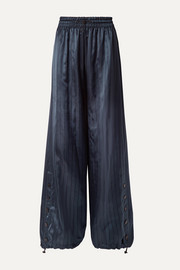 Snap-embellished pinstriped satin wide-leg pants