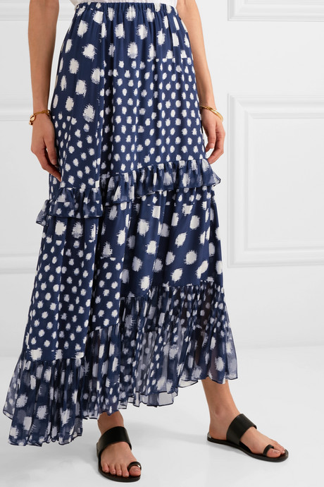 Tiered ruffled printed silk-chiffon maxi skirt