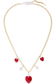 WALD Berlin Be My Lover gold-plated, Swarovski crystal and pearl necklace