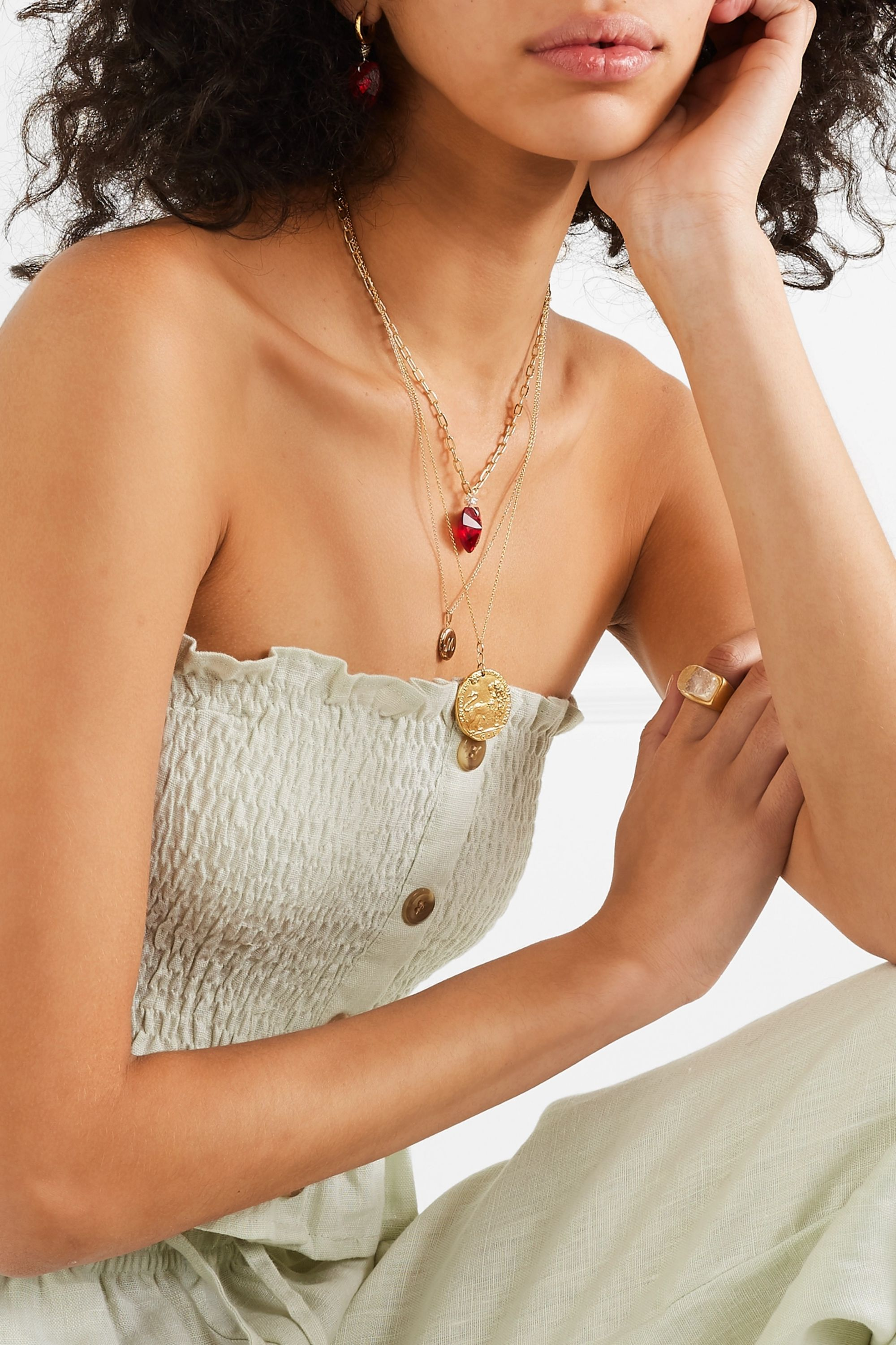 WALD Berlin Sweet Love gold-plated, crystal and pearl necklace
