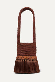 Little Paws tasseled embellished woven straw tote