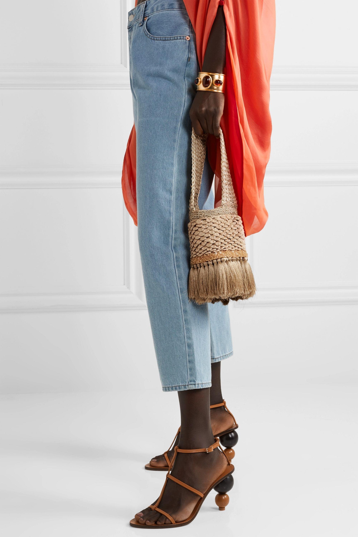 Johanna Ortiz Honey Lavender tasseled embellished crochet and woven straw tote