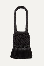 Johanna Ortiz Honey Lavender tasseled embellished crochet and woven straw tote