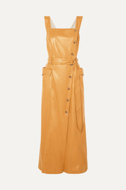 Nanushka Moun belted vegan leather wrap-effect midi dress