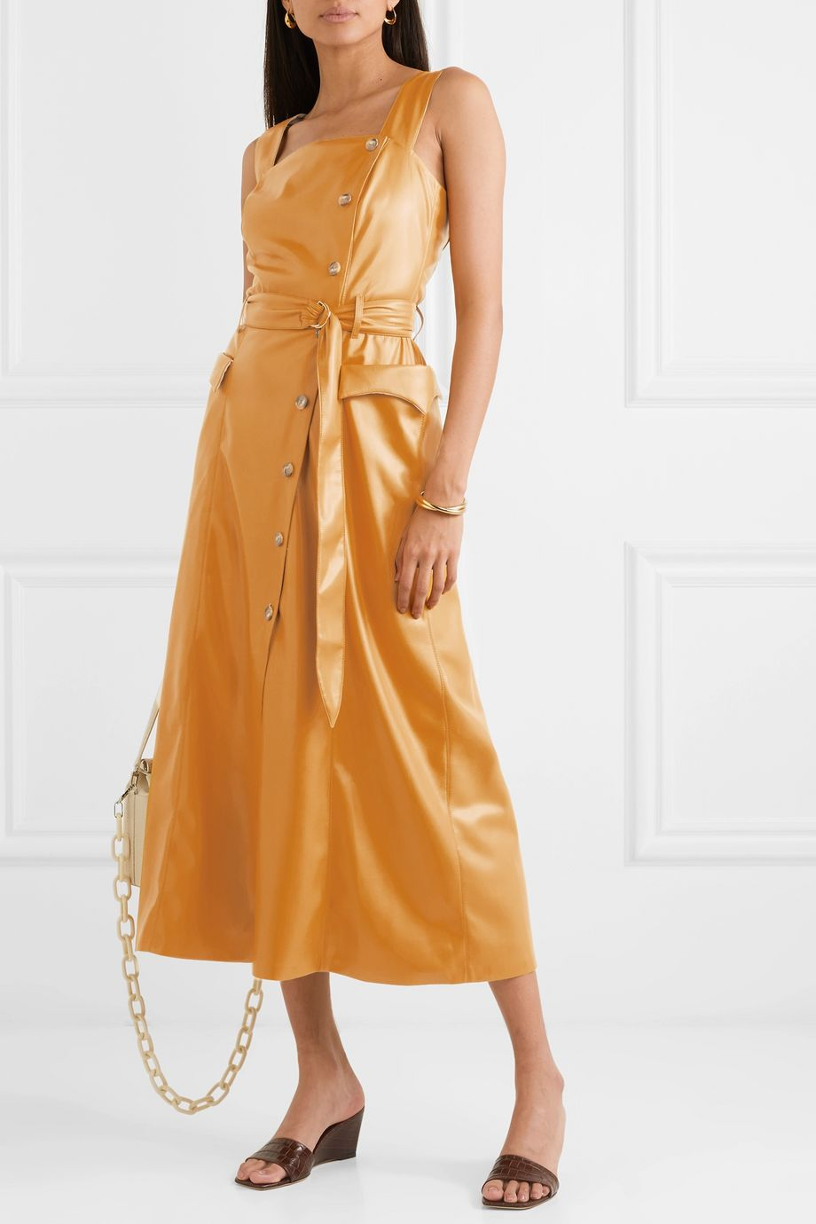 Nanushka Moun belted vegan leather wrap-effect midi dress