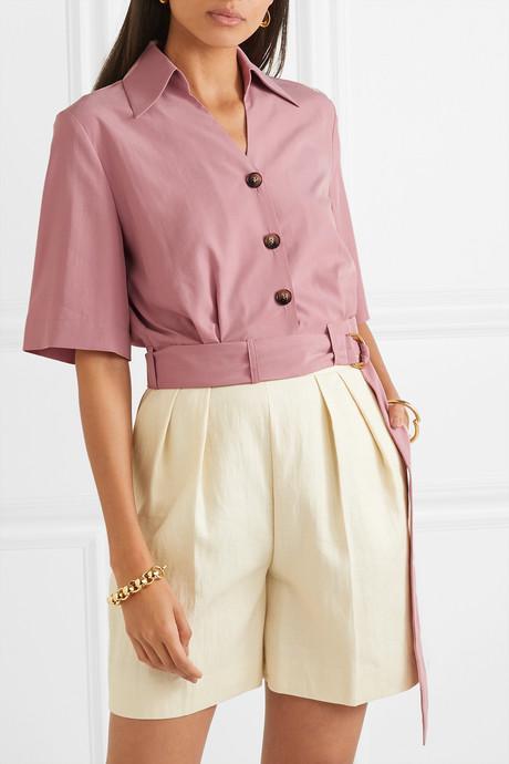 Cayne cropped belted Tencel-blend shirt