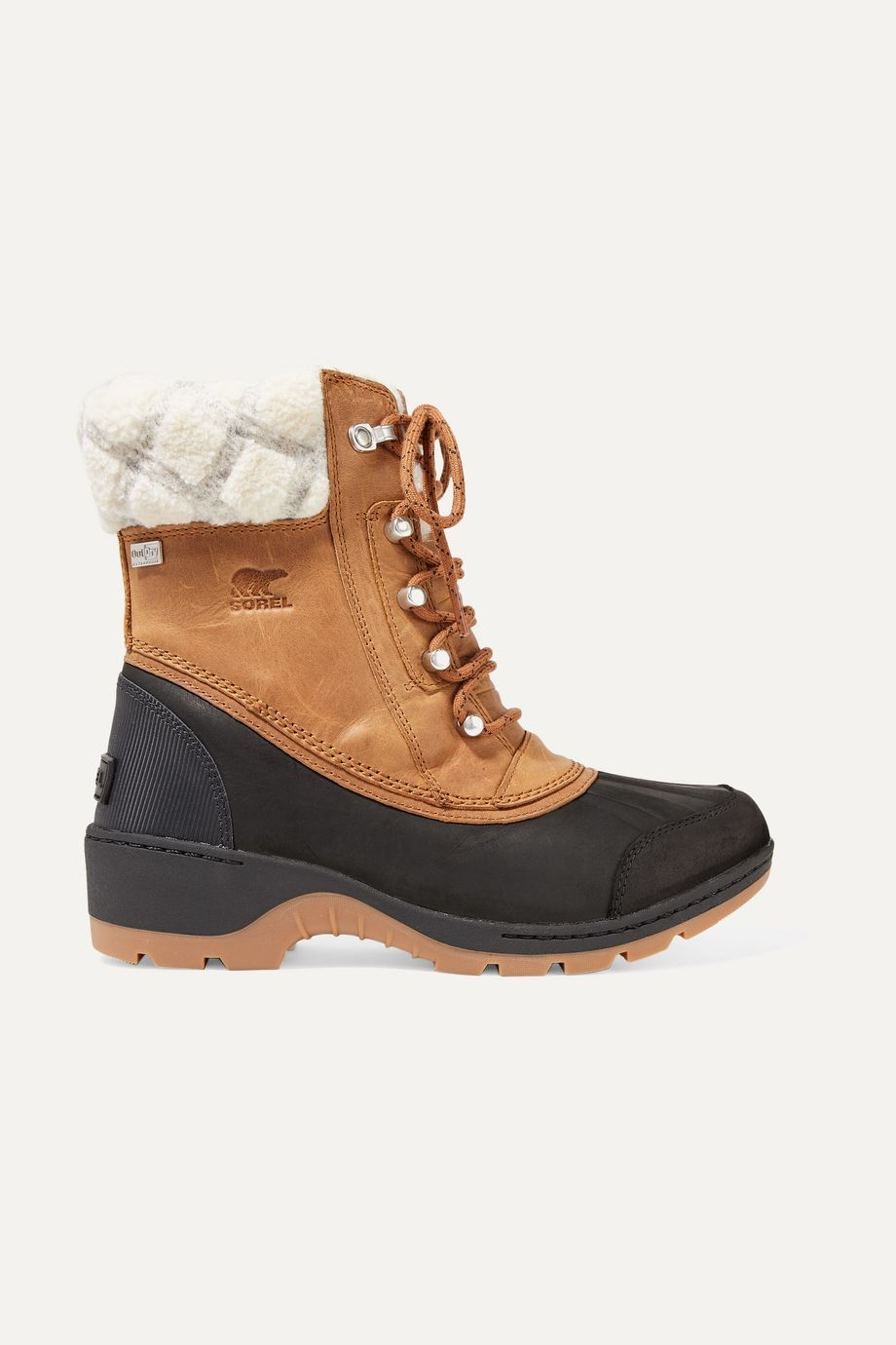 Sorel Whistler rubber and wool-trimmed waterproof nubuck boots