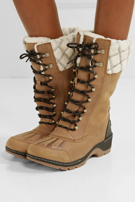 Whistler wool-trimmed waterproof leather boots