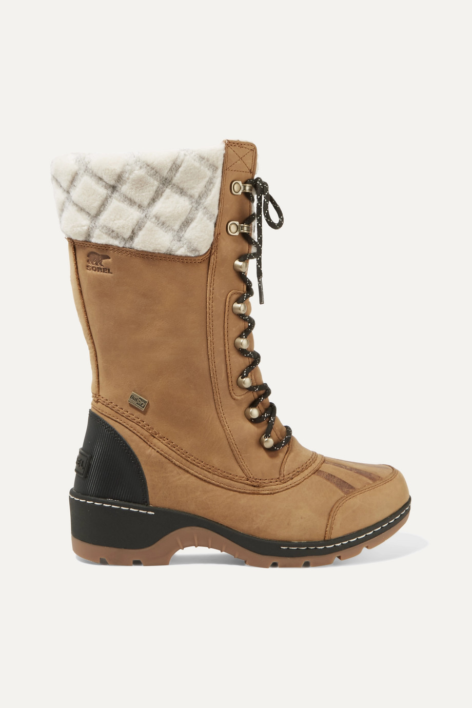 Sorel Whistler wool-trimmed waterproof leather boots