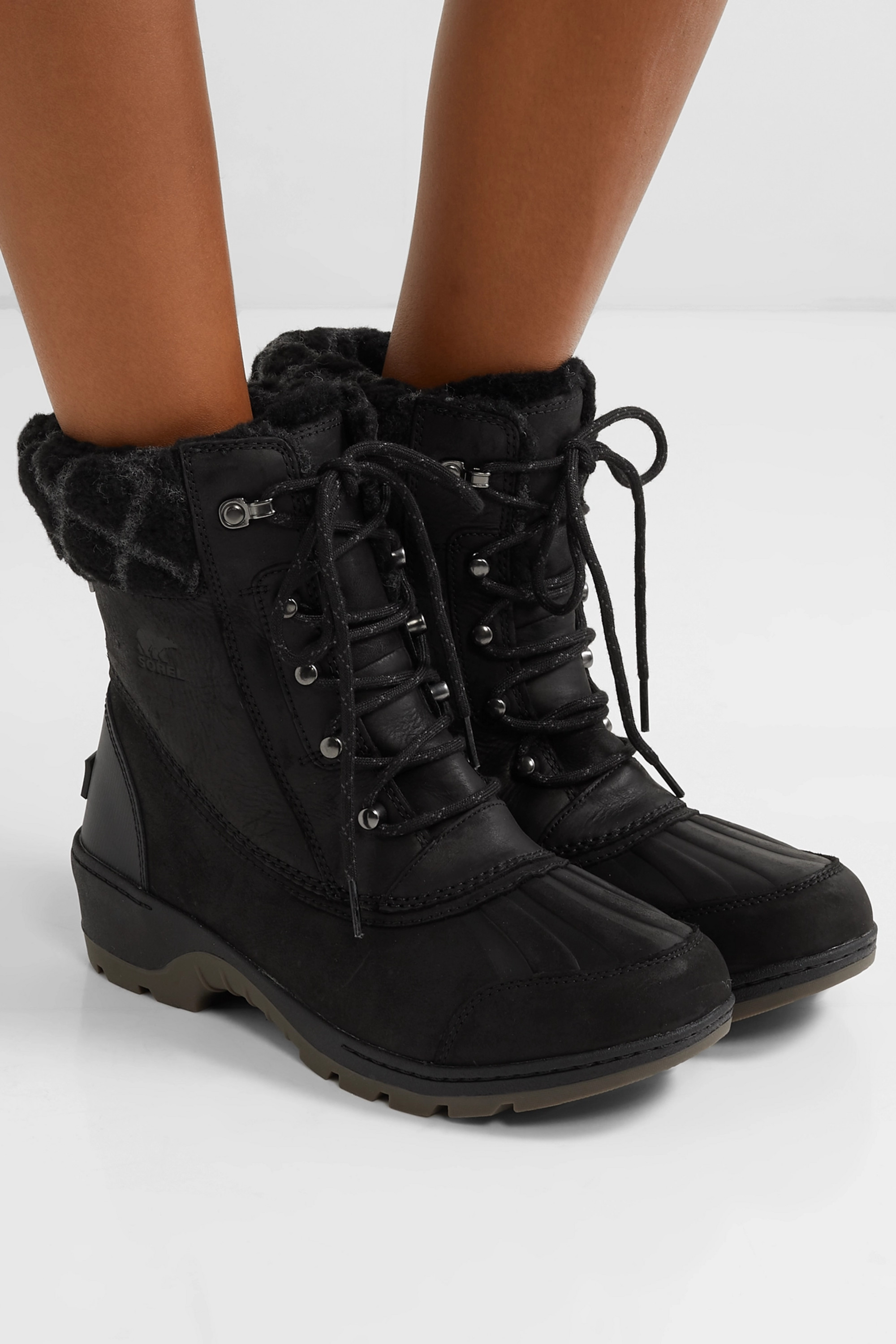 Sorel Whistler wool-trimmed waterproof leather ankle boots