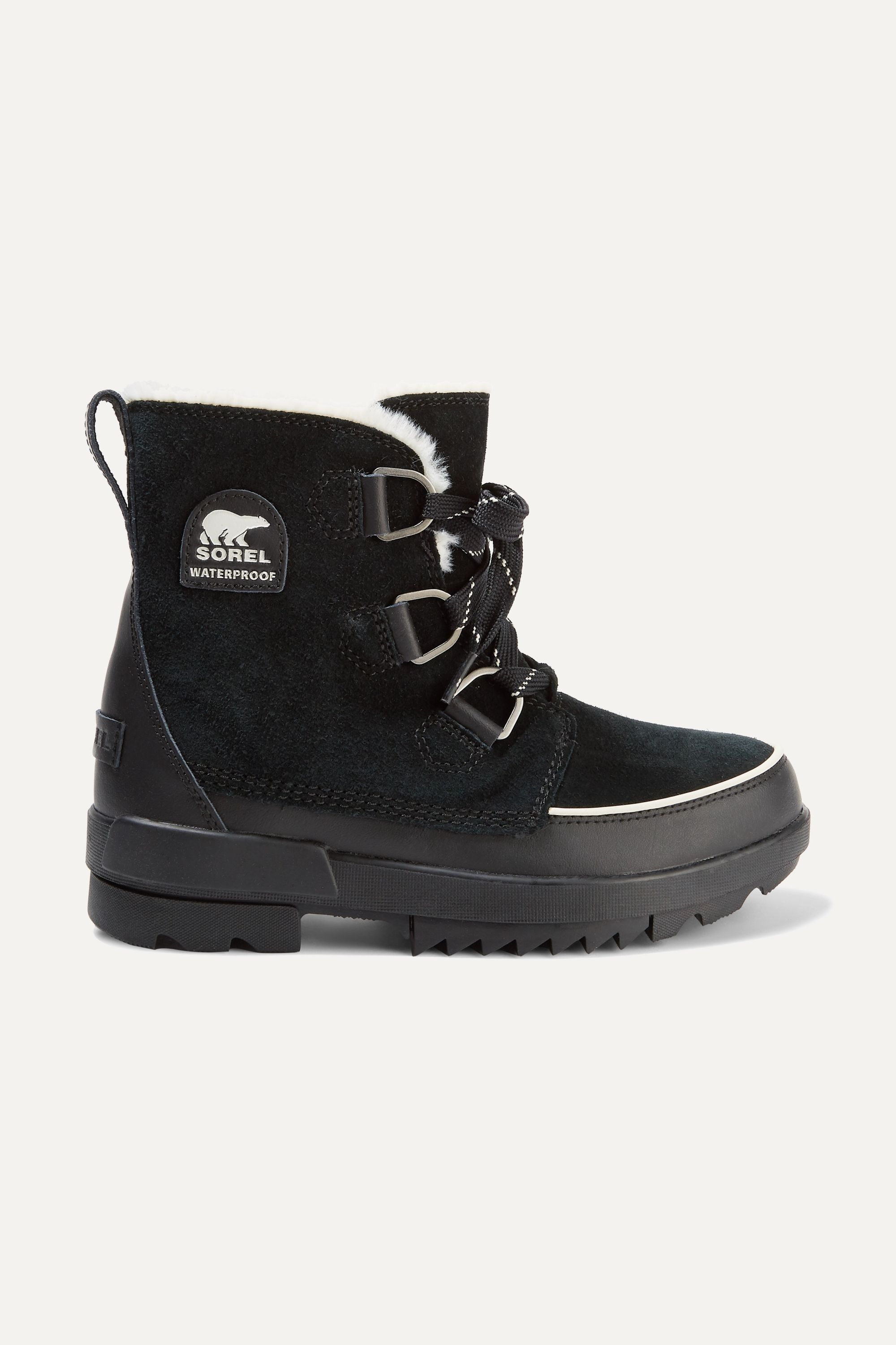 Sorel Torino II faux fur-trimmed waterproof suede and rubber ankle boots