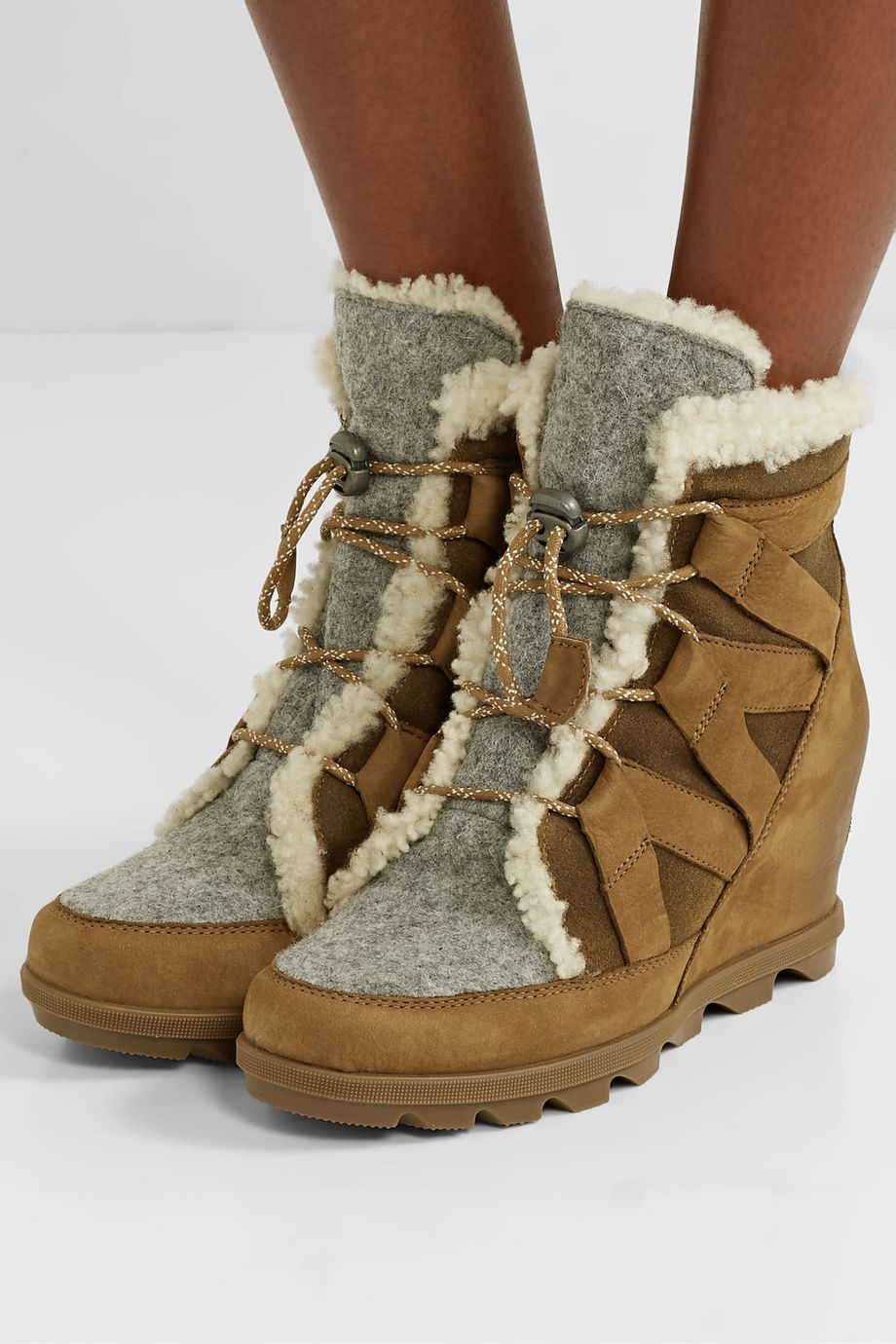 Sorel Joan of Arctic Wedge II shearling-trimmed waterproof nubuck, suede and felt ankle boots