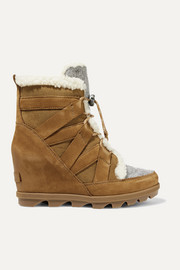 Joan of Arctic Wedge II shearling-trimmed waterproof nubuck, suede and felt ankle boots