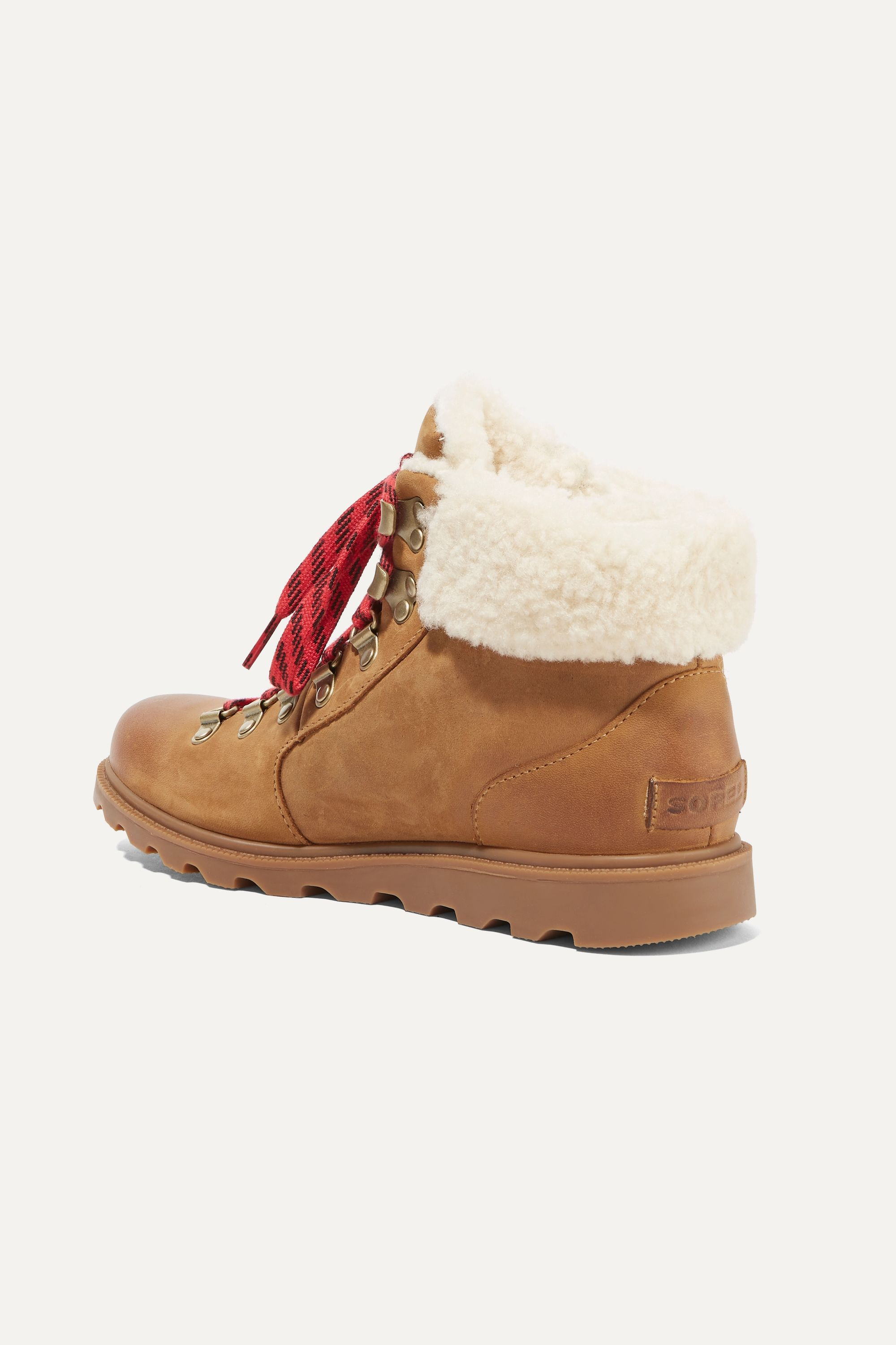 Sorel Ainsley Conquest shearling-trimmed waterproof leather ankle boots