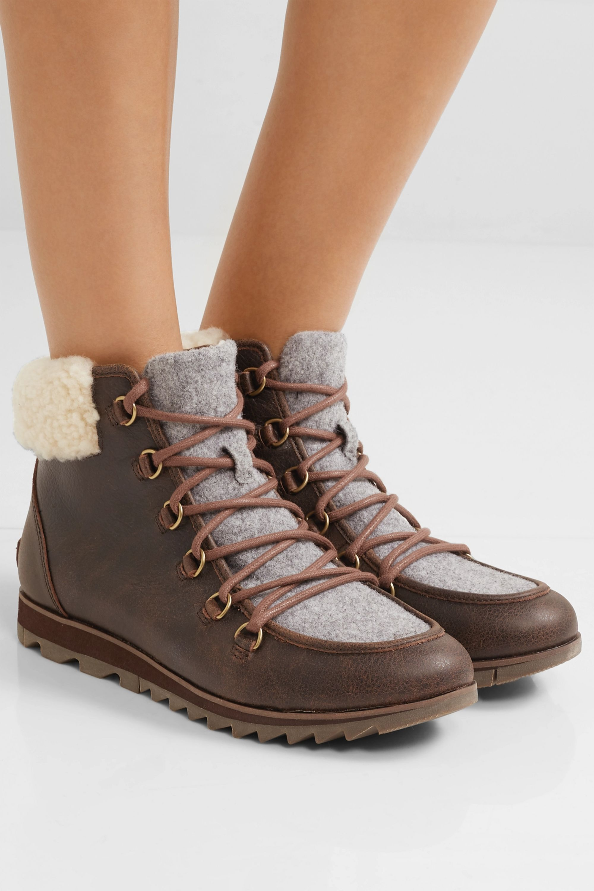 Sorel Harlow Lace Cozy shearling and felt-trimmed waterproof leather ankle boots
