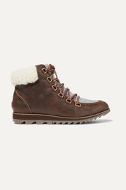 Harlow Lace Cozy shearling and felt-trimmed waterproof leather ankle boots