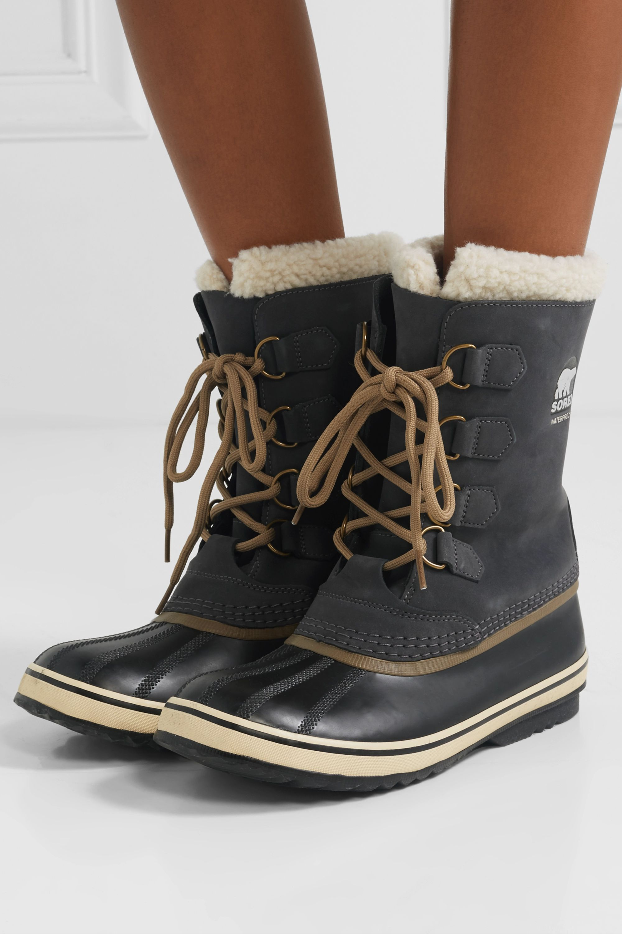 Sorel 1964 PAC 2 fleece-trimmed nubuck and rubber snow boots