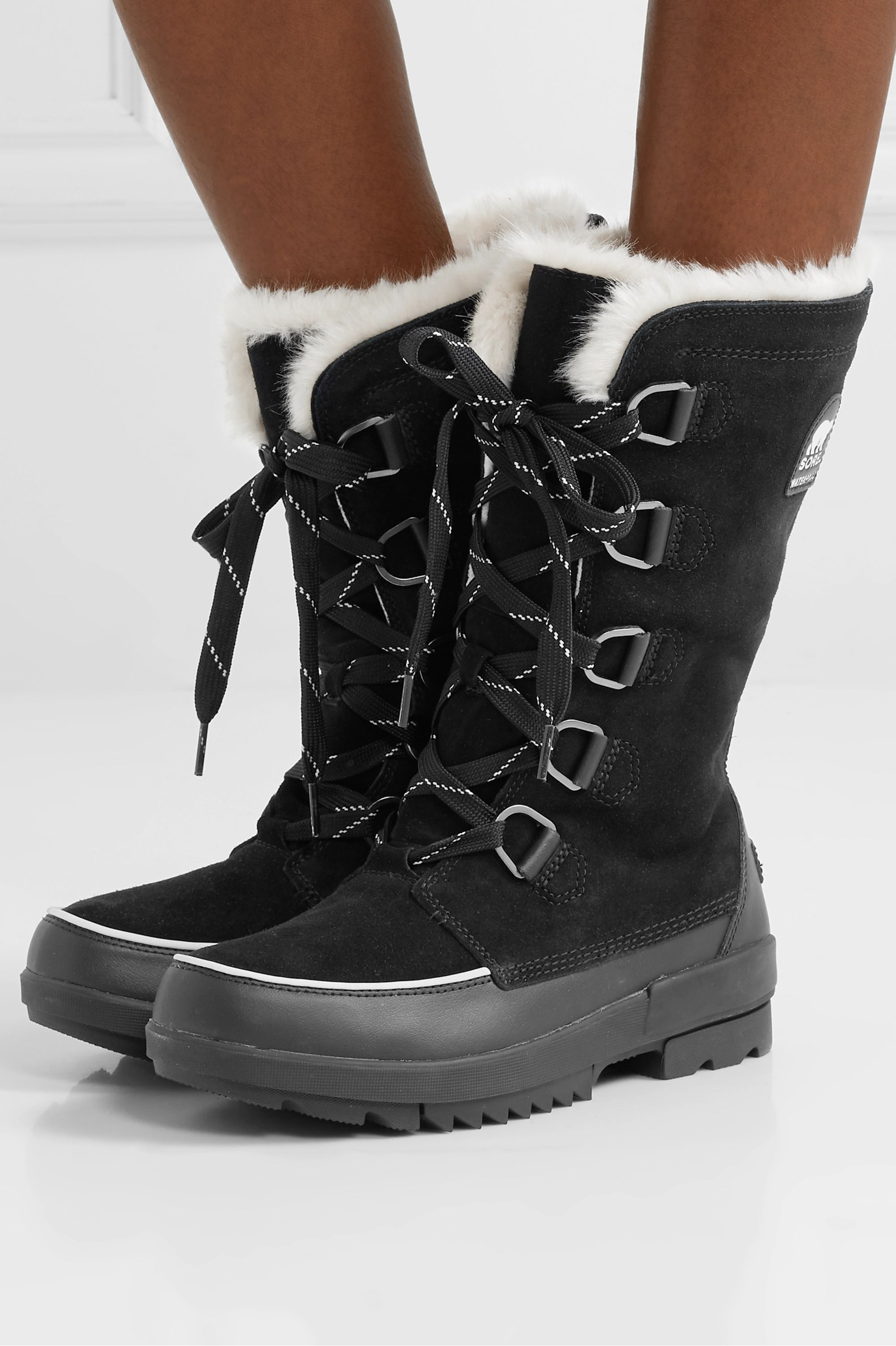 Sorel Torino II faux fur-trimmed waterproof suede and rubber boots