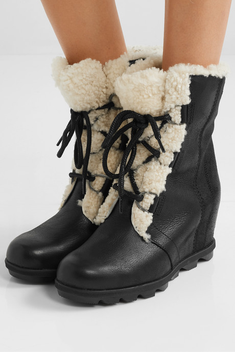 Joan of Arctic Wedge II shearling-trimmed waterproof leather and suede ankle boots