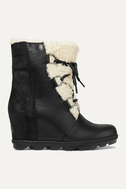 Sorel Joan of Arctic Wedge II shearling-trimmed waterproof leather and suede ankle boots
