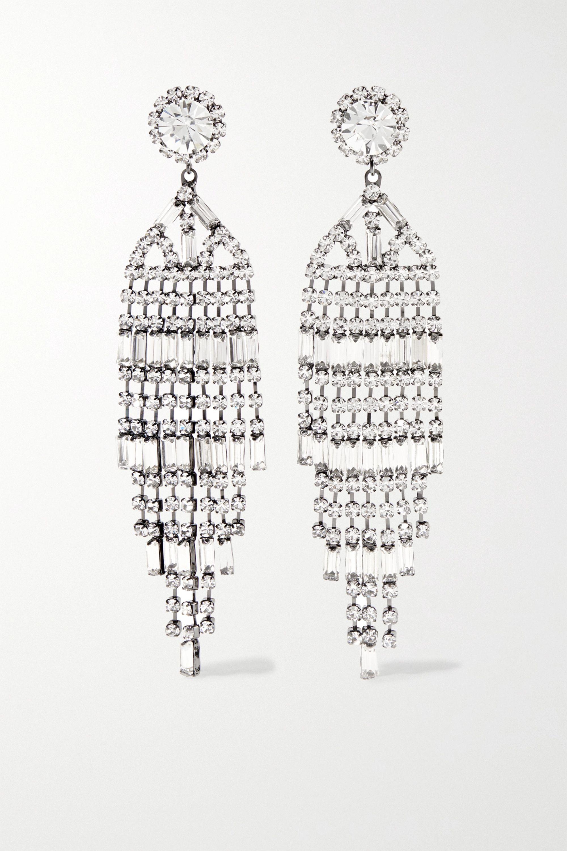Kenneth Jay Lane Gunmetal crystal earrings