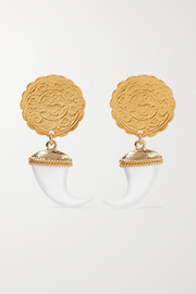 Gold-tone and faux horn earrings
