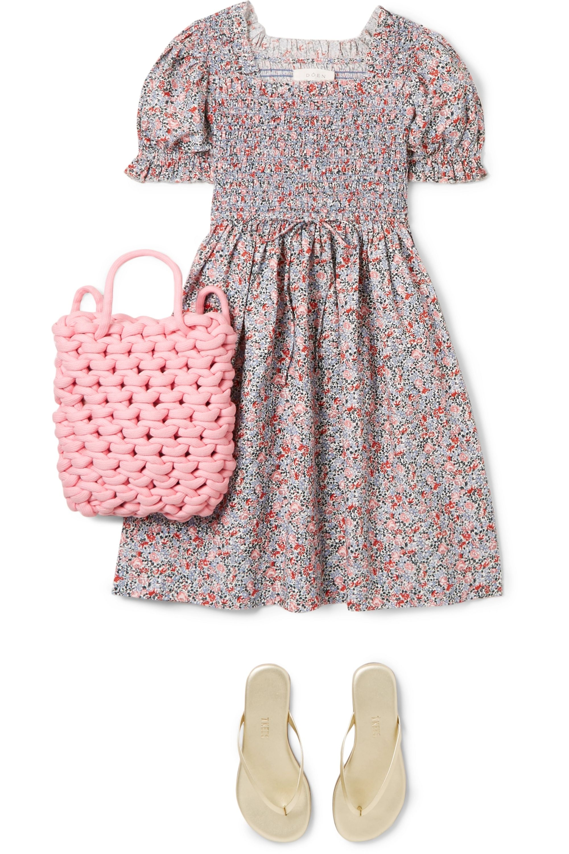 DÔEN Kids Mini Sol shirred floral-print cotton dress