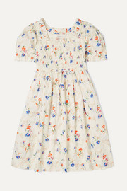 Mini Sol smocked floral-print Swiss-dot cotton-voile dress