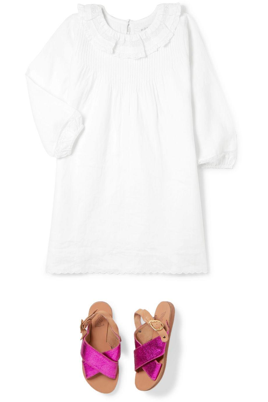 DÔEN Kids Mini Georgia ruffled lace-trimmed pintucked ramie dress