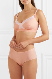 SIX Emmeline satin-trimmed stretch-cotton soft-cup nursing bra