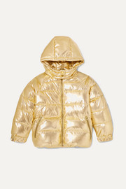 Hooded quilted metallic shell jacket