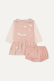 Metallic printed tulle dress and bloomers set