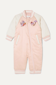 Embroidered two-tone satin onesie