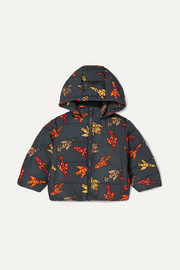 Printed quilted shell hooded jacket