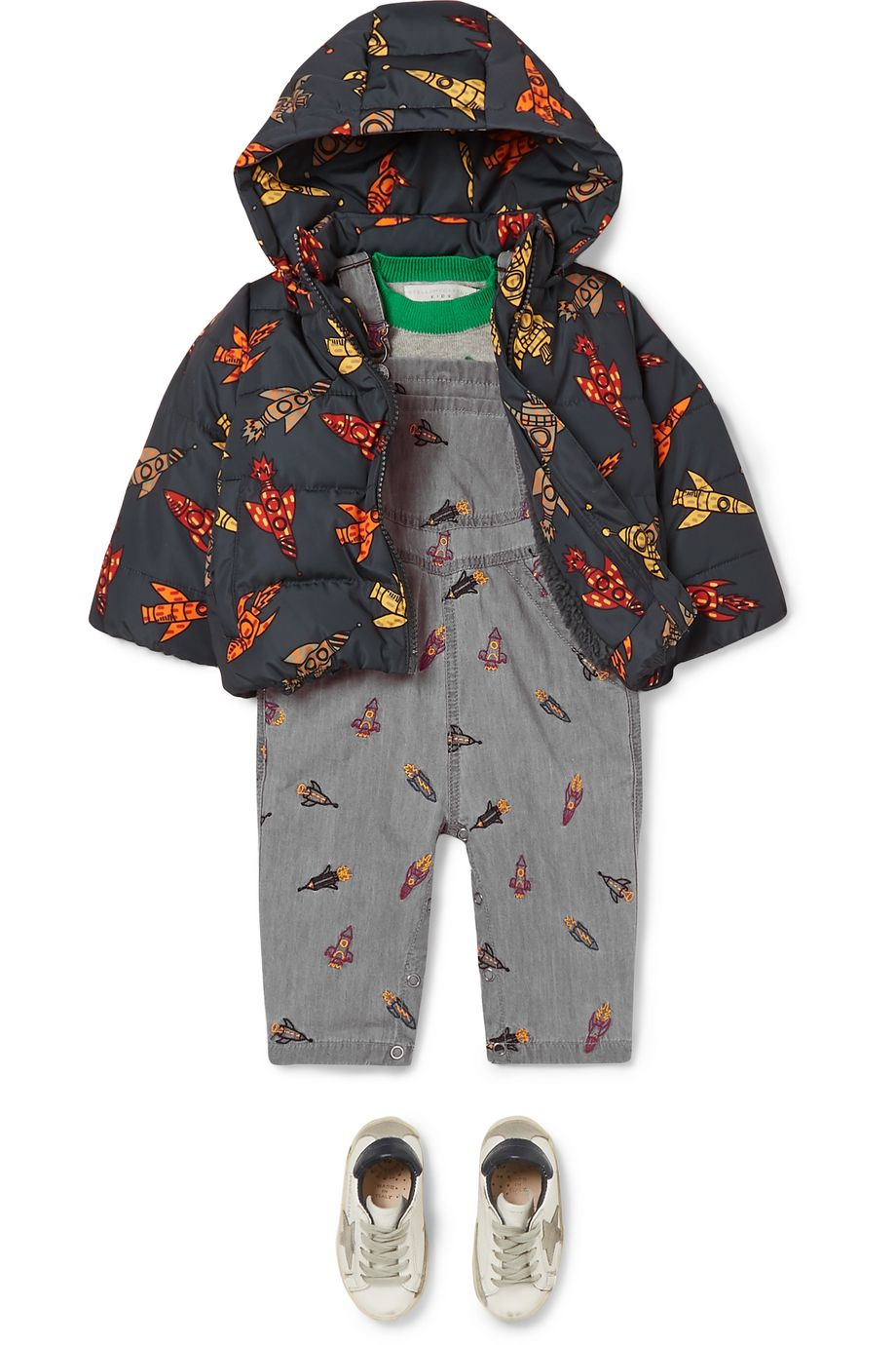 Stella McCartney Kids Printed quilted shell hooded jacket