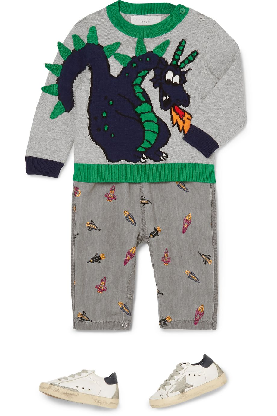 Stella McCartney Kids Intarsia organic cotton and merino wool-blend sweater