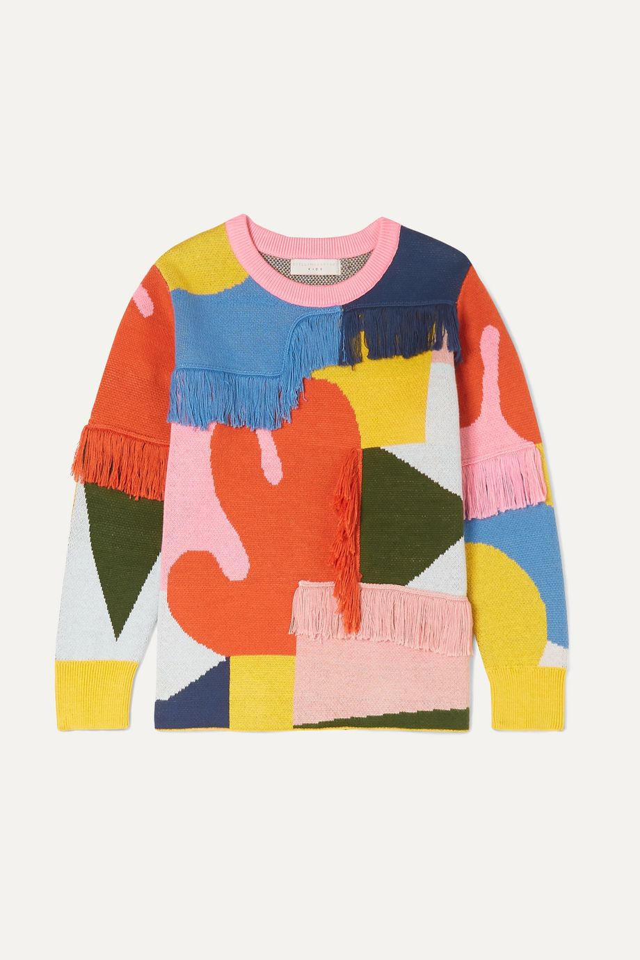 Stella McCartney Kids Fringed intarsia organic cotton and merino wool-blend sweater