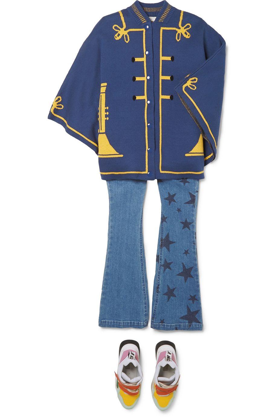 Stella McCartney Kids Intarsia organic cotton and merino wool-blend cape
