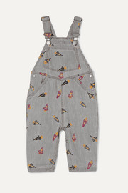 Embroidered organic cotton-chambray dungarees