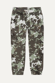 Camouflage-print organic cotton-fleece track pants