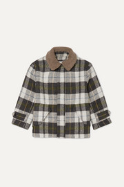 Faux shearling-trimmed checked felt jacket