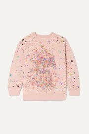 Sequined tulle and organic cotton-fleece sweatshirt