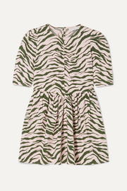 Ruched zebra-print organic cotton dress