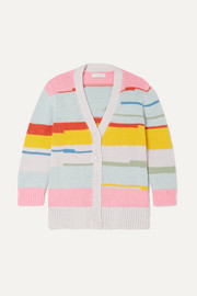 Striped organic cotton and merino wool-blend cardigan
