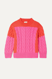 Two-tone cable-knit cotton-blend sweater