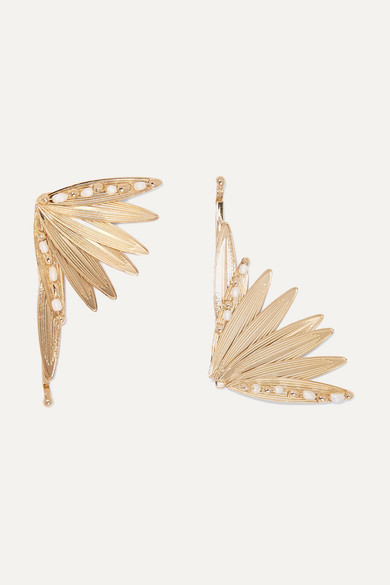 Apache Set Of Two Gold Tone And Pearl Hair Slides by Rosantica