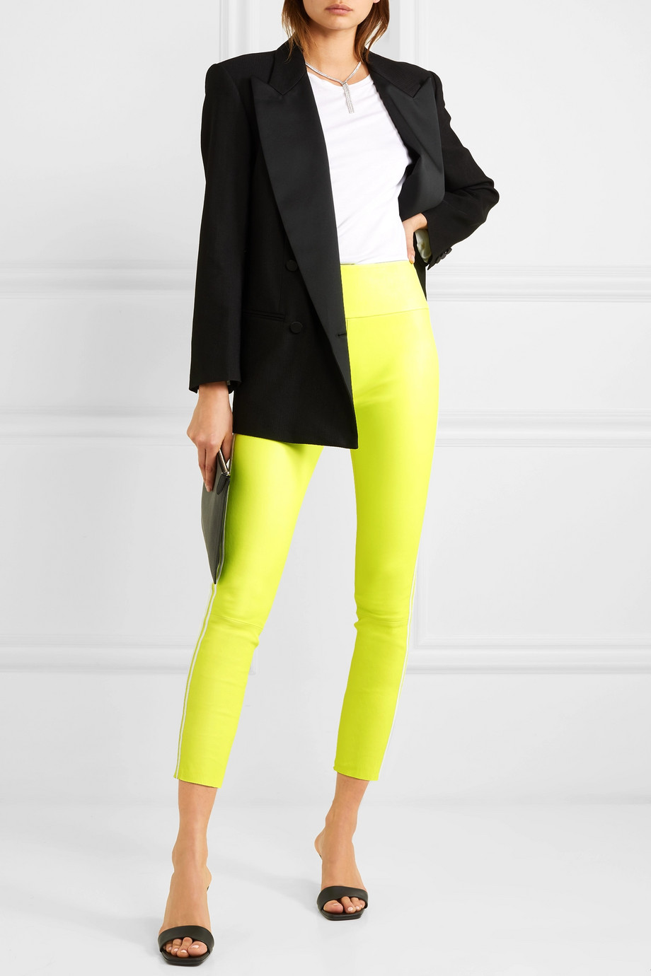 SPRWMN Cropped striped leather leggings