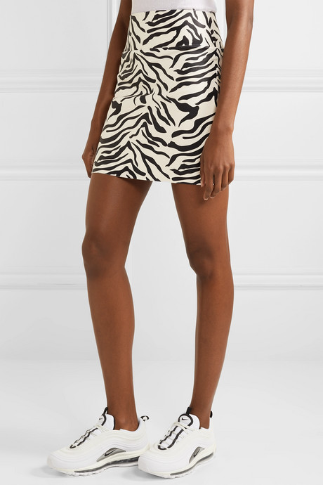 Zebra-print leather mini skirt