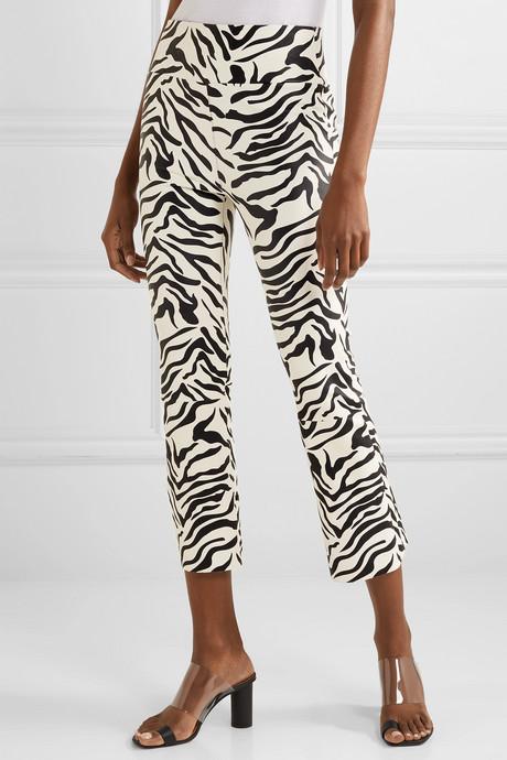 Cropped zebra-print leather flared pants