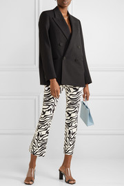 Cropped zebra-print leather flared pants